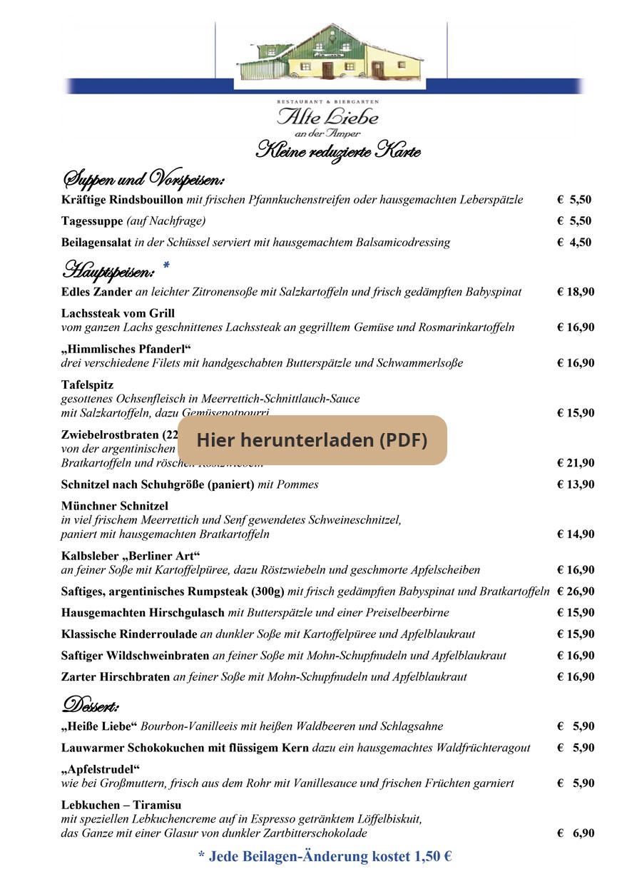 Unsere Speisekarten Fur Restaurant Und Biergarten Alte