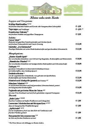 Kleine Speise- und Spargelkarte der alten Liebe in Dachau